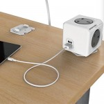 Allocacoc Original Extended USB UK PowerCube | 4 Sockets UK | 2 USB Output (5V) | Green, Red, Blue