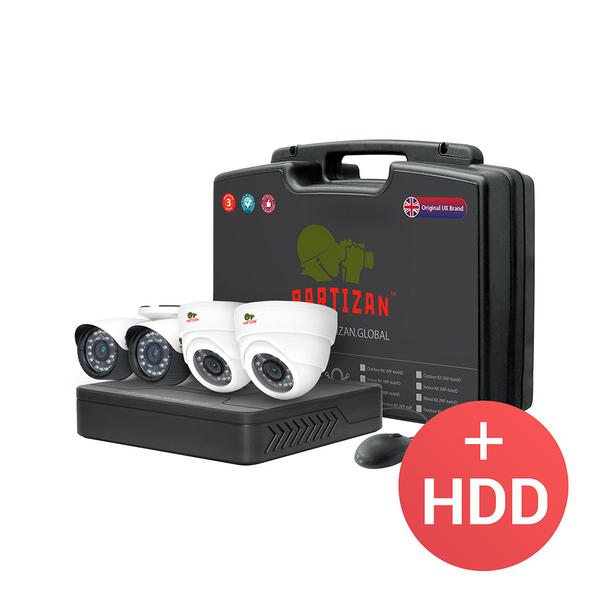 Partizan AHD CCTV Mixed Kit 2MP Full HD - 4x Cams (2x Bullet + 2x Dome) + DVR + 4x Cables + Power