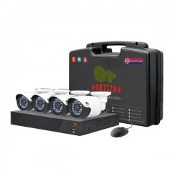 Partizan Outdoor AHD CCTV Kit 1MP - 4x Cams Bullet + DVR + 4x Cables + Power