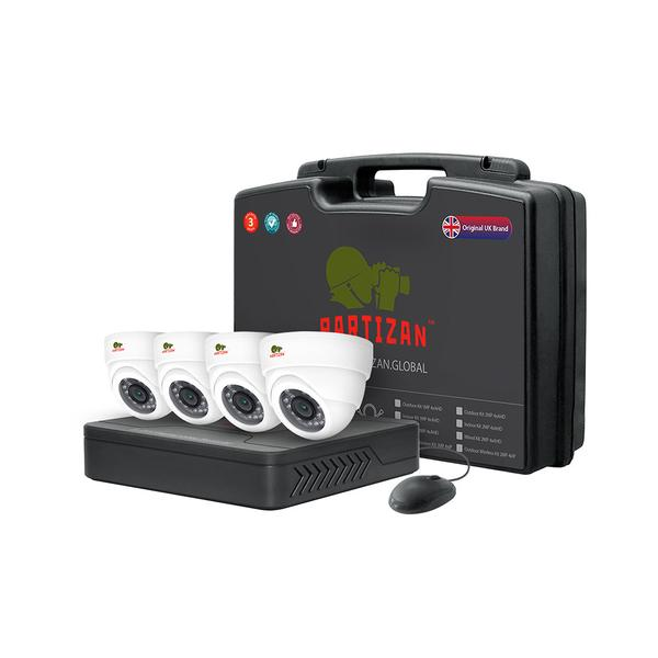 Partizan AHD CCTV Indoor Kit 2MP Full HD - 4x Cams (2x Bullet + 2x Dome) + DVR + 4x Cables + Power
