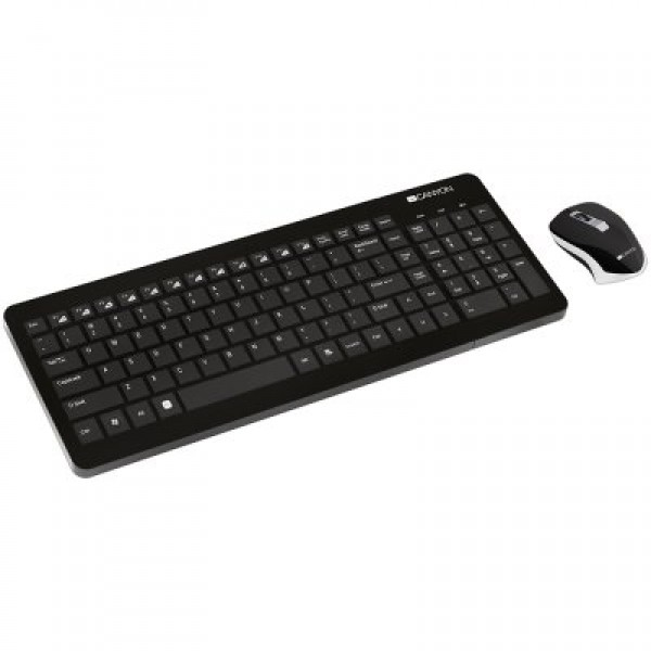 2.4GHZ wireless combo-set, keyboard 105 keys, chocolate key caps, US layout (black); mouse adjustable DPI 800-1200-1600, 3 buttons (black)