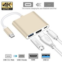 Type C to USB-C 4K HDMI USB 3.0 3 in 1 Hub Adapter Cable For Apple MacBook & Laptop