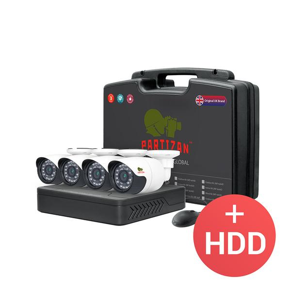 Partizan AHD CCTV Outdoor Kit 2MP Full HD 4x Bullet + DVR + 4x Cables + Power
